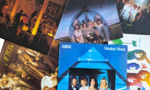 Gothenburg, Sweden - September 26, 2015: ABBA Original Vinyl record sleeves. ABBA (stylised ᗅᗺᗷᗅ) were a Swedish pop group formed in Stockholm in 1972. With members Agnetha Fältskog, Björn Ulvaeus, Benny Andersson, and Anni-Frid Lyngstad, ABBA became one of the most commercially successful acts in the history of popular music, topping the charts worldwide from 1975 to 1982 This image is a photo of some of their original albums released in the late seventies and early eighties.